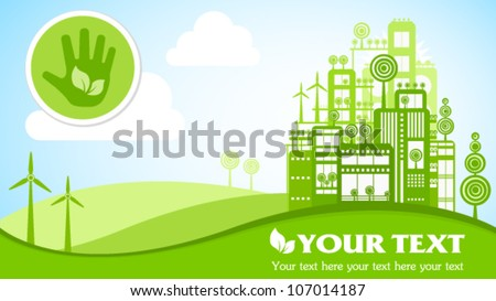 Green eco town widescreen 16x9 placard with icons. Image contains transparency, EPS10 - stock vector