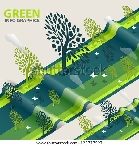 green eco tree info graphics  - abstract ecology tree illustration - stock vector