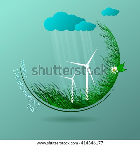 Green eco. Vector composition of grass on blue background. World environment day. Illustration. - stock vector