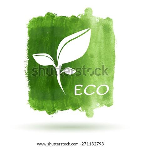 Green eco watercolor card. EPS10 vector illustration - stock vector