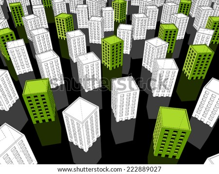 green ??ecological?? apartment houses/office buildings standing out from others - stock vector