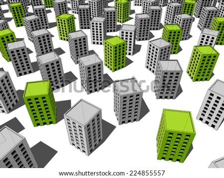 green �ecological� apartment houses/office buildings standing out from others - stock vector