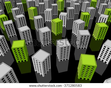 green ecological apartment houses or office buildings standing out from others - stock vector