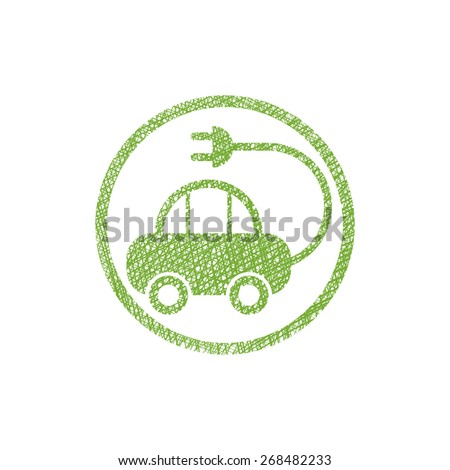 Green ecological electric car sign with hand drawn lines texture. - stock vector