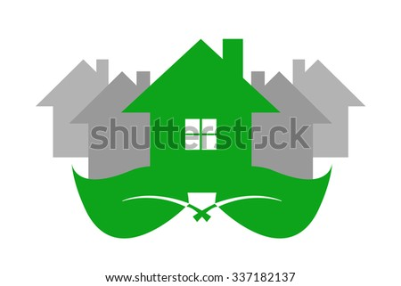 Green ecological house is standing on two green leaves. Gray houses are standing behind the green house. Isolated on the white background. - stock vector