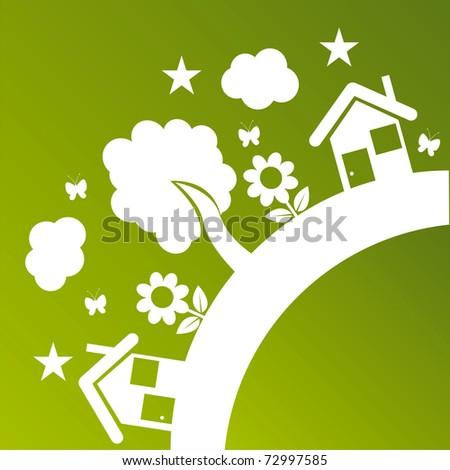green ecological illustration - stock vector