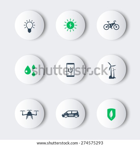 Green ecological modern technologies, trendy round icons, vector illustration, eps10, easy to edit - stock vector