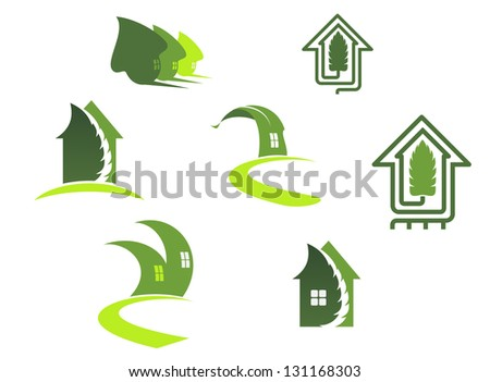 Green ecological symbols with leaves and houses or logo template. Jpeg (bitmap) version also available in gallery - stock vector