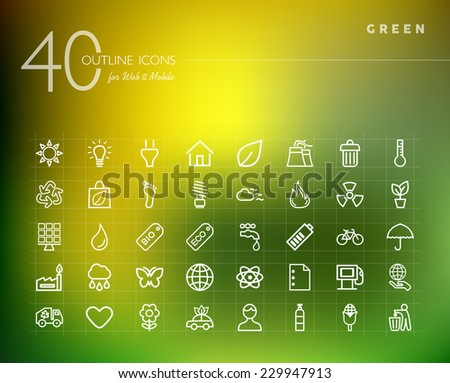 Green, ecology and environment outline icons set for web and mobile app. EPS10 vector file organized in layers for easy editing. - stock vector