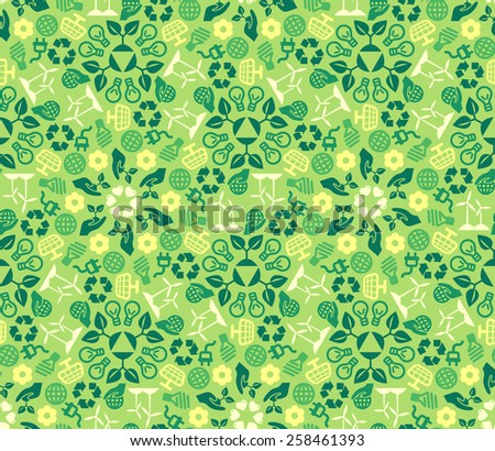 Green Ecology Background Made of Eco Icons. Vector Seamless Pattern. Wind and Solar  Energy. Green Technologies. - stock vector