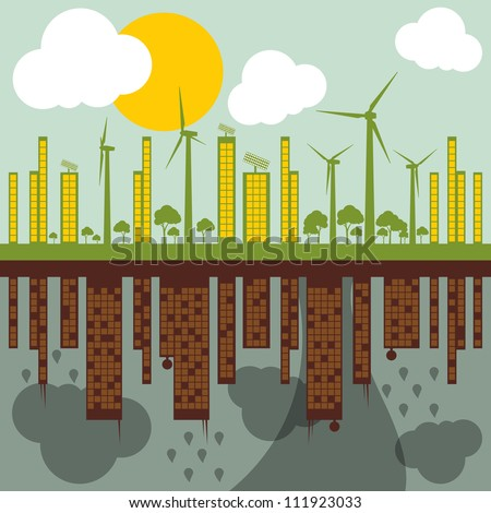 Green ecology city illustration against pollution landscape concept background vector - stock vector