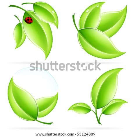 Green ecology concept  icons with leaf and shadow for your design - stock vector