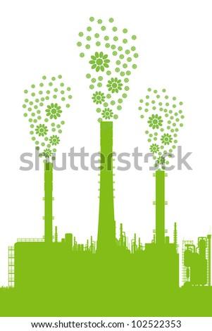 Green ecology factory concept vector background - stock vector
