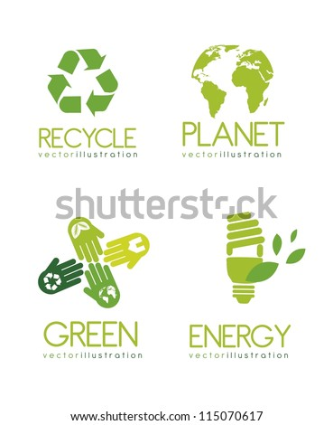 green ecology icons isolated over white background. vector illustration - stock vector
