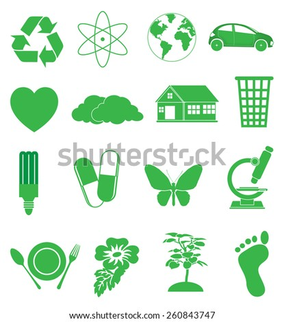 Green ecology icons set - stock vector