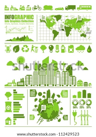 green ecology info graphic, vector set - stock vector