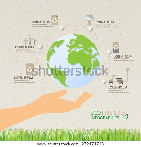green ecology infographic background and elements, environment friendly. Can be used for workflow layout, banner, diagram, web design, timeline, info chart, brochure template. vector illustration - stock vector