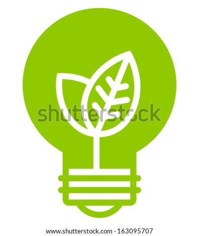 Green ecology light bulb vector icon - stock vector