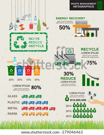 green ecology recycle infographics elements. environmental friendly. Can be used for business layout, banner, diagram, statistic, web design, info chart, brochure template. vector illustration - stock vector