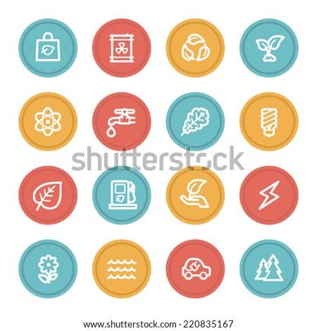Green ecology web icon set 3, color circle buttons - stock vector