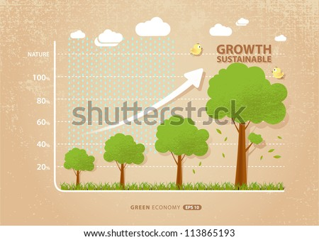 green economy concept : graph of growing sustainable environment with business - stock vector