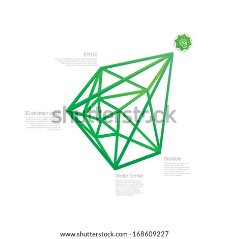 Green edition of a 3d abstract minimal edgy pointy lattice network composition, scalable eps10 vector background for infographics, for webdesign, print or for universal use  - stock vector