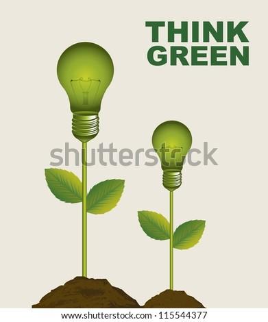 green electric bulbs conceptual over beige background. vector - stock vector