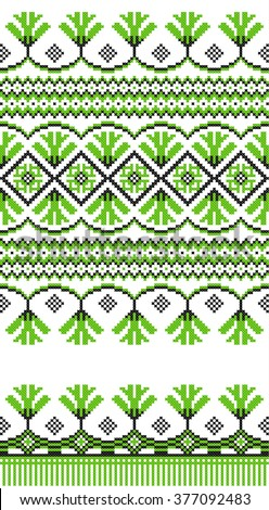 Green embroidered good like handmade cross-stitch ethnic Ukraine pattern. Spring color for St Patrick day. Traditional Ukrainian folk art pattern - vyshyvanka called - stock vector