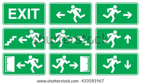Green Emergency Exit Sign, Icon and Symbol Set - stock vector
