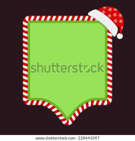 Green empty banner with candy frame and Santa Claus hat - stock vector