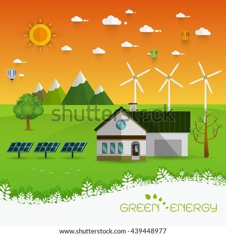 Green energy an eco friendly house - solar energy, wind energy,urban landscape,Vector concept illustration. - stock vector