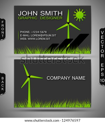 Green Energy Business Card - stock vector
