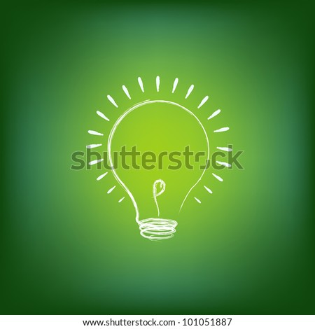 Green Energy Concept, On Green Background, Vector Illustration - stock vector