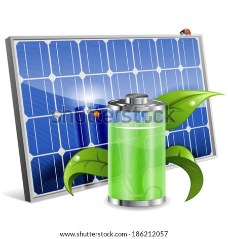 Green Energy Concept with Solar Panel, Battery and Young Sprout, vector isolated on white background - stock vector