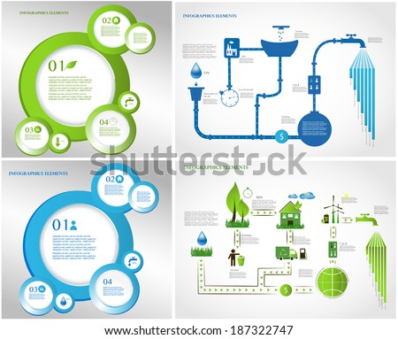 green energy, ecology info graphics collection - ENERGY industry - charts, symbols, graphic elements - stock vector
