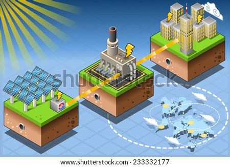 Green Energy Harvesting Ecology Environment Renewable Energy Solar Source Diagram Isometric Infographic. Solar Power Alternative Energy Chain Infographic Elements Farm Tiles Vector Illustration. - stock vector