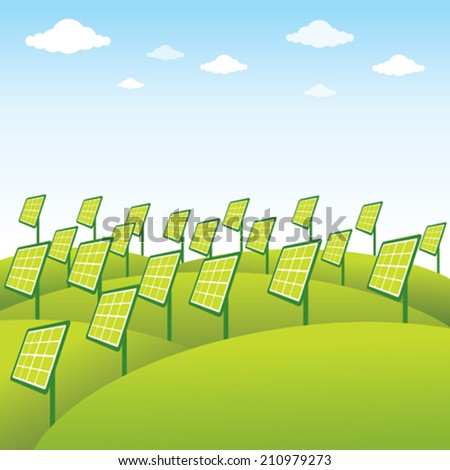 green energy source solar panel background vector - stock vector