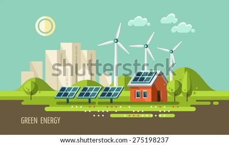 Green energy, urban landscape, ecology. flat design vector concept illustration. - stock vector