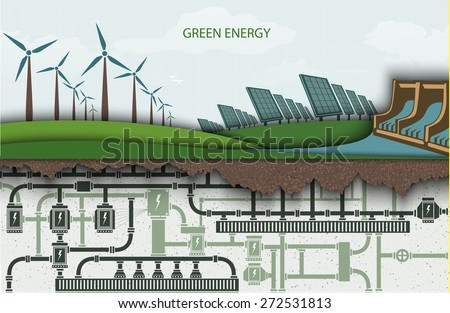 green energy. Wind-powered electricity with solar panels and hydroelectric power plants. RENEWABLE ENERGY - stock vector