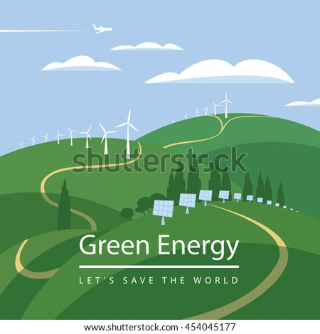 green energy, wind turbines and solar panels on the landscape clouds sky - stock vector