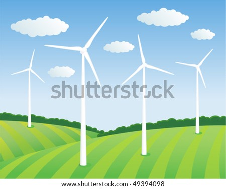 Green energy. Wind turbines on the green field - stock vector