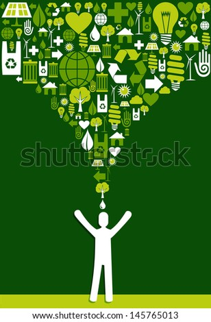 Green environment icons set splash over eco man design. Vector file layered for easy manipulation and custom coloring. - stock vector