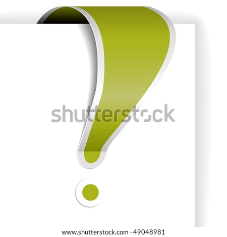 Green exclamation mark with white border - tag for important items in eshop - stock vector
