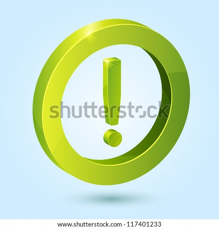 Green exclamation symbol isolated on blue background. This vector icon is fully editable. - stock vector
