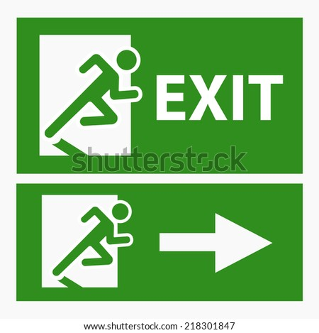 Green exit emergency sign on white vector - stock vector