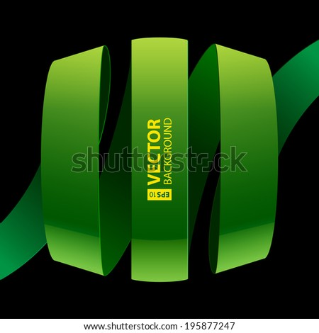Green fabric glossy curved ribbon on black background.  - stock vector