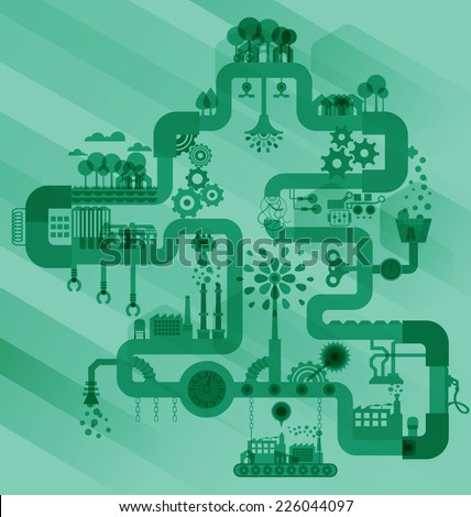 Green factory industry sustainable development with environmental, Ecology concept, illustrator vector - stock vector