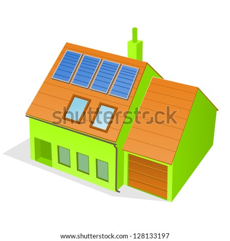 Green Family House - Building with solar panels attached on the roof - stock vector