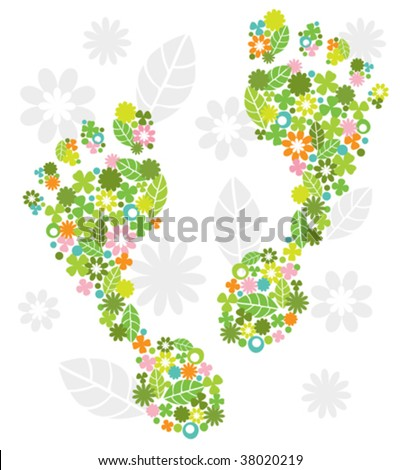 Green feet made of flowers - stock vector