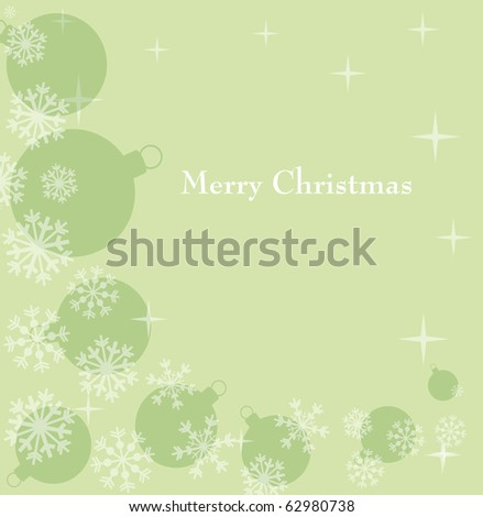 green festive background with snowflake and ball - stock vector